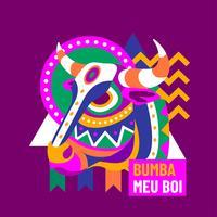 Bumba Meu Boi Bullen Kopf vektor