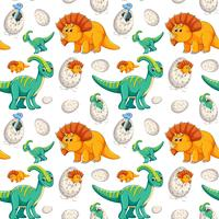 Gullig dinosaur sömlös bakgrund vektor