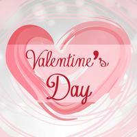 Velentinsk kortmall med rosa hjärta