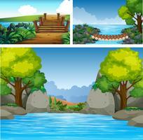 Tre bakgrundsscenarier med flod och träd