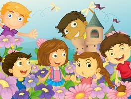 Kinder und Blumen vektor
