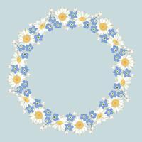kamille och glöm mig-inte-blommönster på blå bakgrund