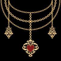 Bakgrund med kedjor guld metalliskt halsband och hänge med hjärta. På svart