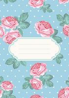 Omslag eller kortmall. Shabby chic rosa sömlöst mönster på blå polka dot bakgrund. Kan också användas för plaketter, banderoller, flygblad, presentationer