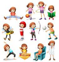 Sats av söt tjej med olika aktiviteter vektor