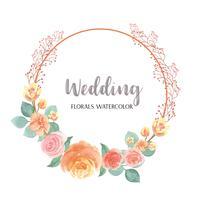 Die Aquarellblumen, die mit Textkränzen handgemalt werden, gestalten Grenze, den üppigen Blumenaquarell, das auf weißem Hintergrund lokalisiert wird. Entwerfen Sie Blumendekor für Karte, sparen Sie das Datum, Hochzeitseinladungskarten, Plakat, Fahnendesig
