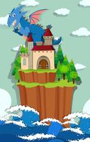 Drache und Burg auf der Insel vektor