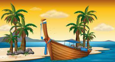 Träbåt på stranden vektor
