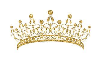 Glittrande Diadem. Guld tiara isolerad på vit bakgrund.