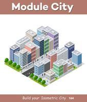 Stadtelefonkoncept affärsidé. 3d isometrisk skyskrapa