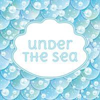 Party Einladung. Glitzerte Fischschuppen, kawaii Nixe Stiker und Rahmen. Vektor-Illustration