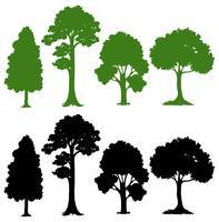 Sats av silhuett träd vektor