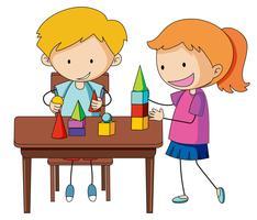 Gekritzeljunge anf Mädchen, das Ziegelstein lernt vektor