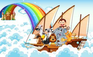 Tiere auf dem Boot vektor
