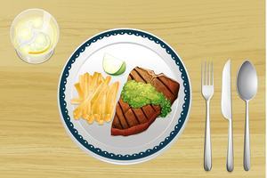 Steak und Pommes Frites vektor