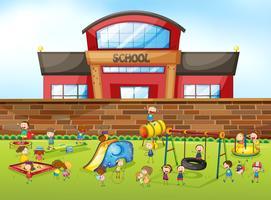 Schulgebäude und Spielplatz