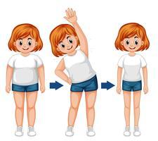 En fett flicka kroppstransforamtion