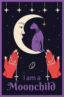 Katt på månen. Behandla händer som håller en rosenkrans. Jag är en Moonchild-text