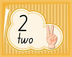 Räkna två med handen gest