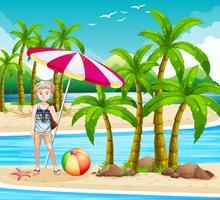 Man står på stranden