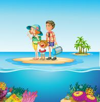Familj resa till havet vektor