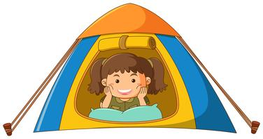 Kleines Mädchen im Zelt vektor