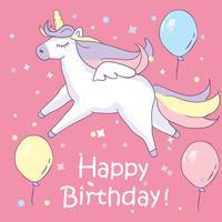 Beautyful enhörning. På rosa bakgrund med balonger och grattis på födelsedagen text