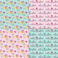 rosa und blaue Geburtstagsmuster mit niedlichen Vögeln vektor