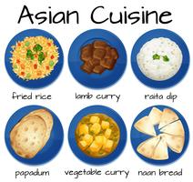 Sats av asiatisk mat vektor