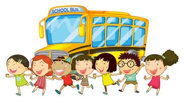 Studenter och skolbuss