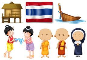 Thailändische Flagge und andere Kulturgüter vektor