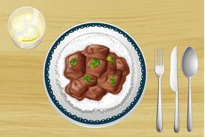 Schweinefleischeintopf mit Reis