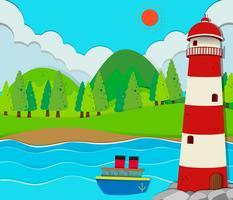 Ozeanszene mit Leuchtturm und Schiff