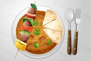 Kryddig indisk curry med kebab vektor