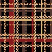 Guldkedjor tartan sömlösa mönster. Vektor illustration