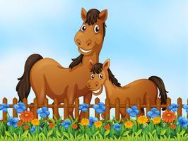Hästfamilj på blomsterträdgård vektor