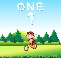 En mokey riding cykel på parken