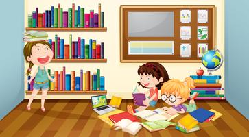 Tre tjejer läser böcker i rummet