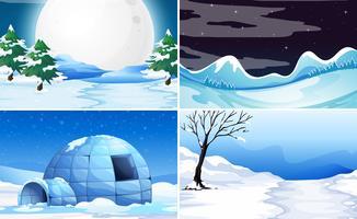 Sats med snöbakgrund vektor