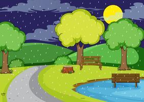 Regnar natt på parken vektor