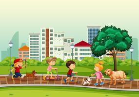 Menschen und Haustiere im Park vektor