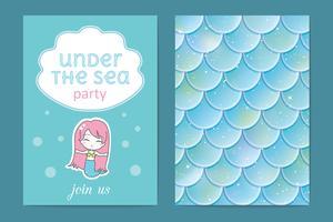 Partyinbjudan. Holografiska fisk- eller sjöjungfruskalor. Vektor illustration