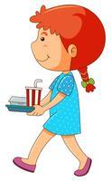 Mädchen mit Lunchbox und Getränk vektor