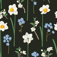 Nahtlose Blümchenmuster Narzissen, vergiss mich nicht Blumen und Sakura. Vektor-Illustration
