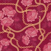 Sömlös mönster bakgrund med gyllene kedjor och rosa rosor. På lila rosa. Vektor illustration