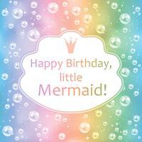 Födelsedagskort för liten tjej. Suddig bakgrund, pärlor och ram. Vektor illustration