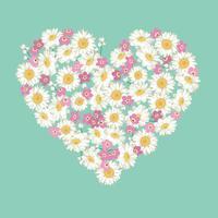 Herzform. Kamille und Vergissmeinnicht blüht auf blauem Hintergrund