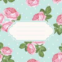 Shabby chic rosa sömlöst mönster på polka dot bakgrund