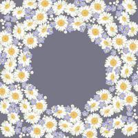 Kamille und Vergissmeinnicht-Blumenmuster auf blauem Hintergrund vektor