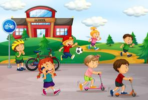 Student som spelar på skolgården